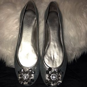 New! Silver Flats with Gem Detail